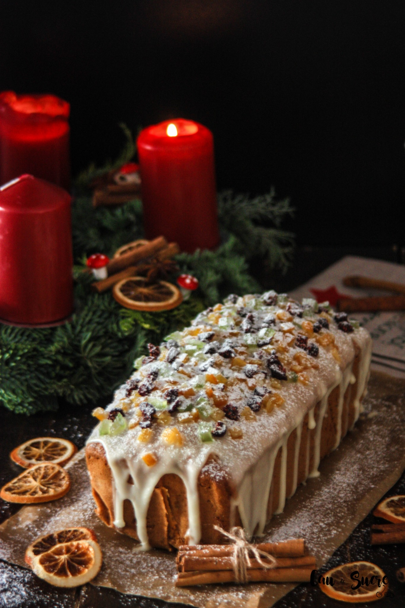 Fruit Pound Cake with Orange glaze Cau de sucre