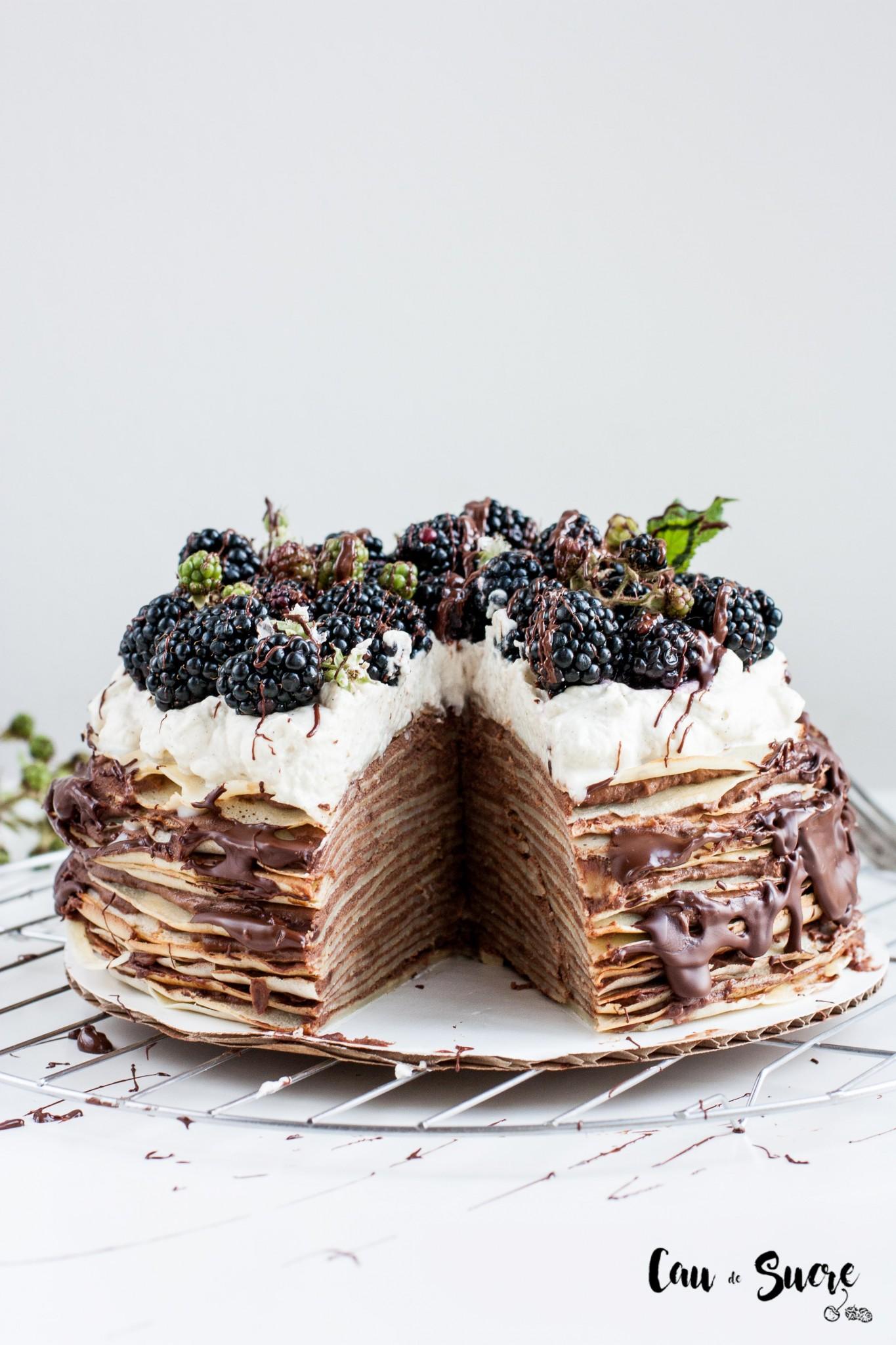 épica Tarta Mil Crepes De Chocolate Y Moras Cau De Sucre